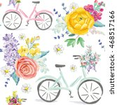 pink and mint bicycles with... | Shutterstock .eps vector #468517166