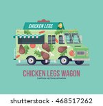 colorful vector fried chicken... | Shutterstock .eps vector #468517262