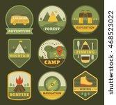 set of vintage camping logos.... | Shutterstock .eps vector #468523022