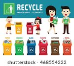 different colored recycle waste ... | Shutterstock .eps vector #468554222