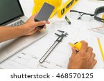hand over construction plans... | Shutterstock . vector #468570125