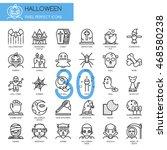 halloween   thin line and pixel ...   Shutterstock .eps vector #468580238