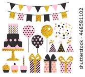 vector set of birthday party... | Shutterstock .eps vector #468581102