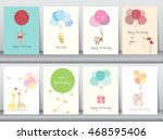 set of birthday cards poster... | Shutterstock .eps vector #468595406