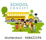 different school children and... | Shutterstock .eps vector #468622196