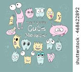 set of cute cartoon monsters of ... | Shutterstock .eps vector #468622892