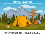 campsite with  camping tent ... | Shutterstock .eps vector #468635162