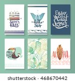 vector set of bright summer... | Shutterstock .eps vector #468670442