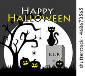 halloween card. vector... | Shutterstock .eps vector #468673565