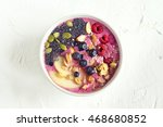 smoothie bowl with fresh... | Shutterstock . vector #468680852