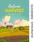 farm rural landscape with field.... | Shutterstock .eps vector #468683192