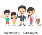 family of four and a dog | Shutterstock .eps vector #468683795