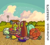 autumn harvesting. vector...   Shutterstock .eps vector #468683978
