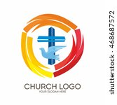 church logo. christian symbols. ... | Shutterstock .eps vector #468687572