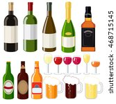 alcohol set   wine  beer  ... | Shutterstock .eps vector #468715145
