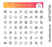 set of 56 shopping line icons... | Shutterstock .eps vector #468718706