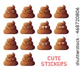 set of cute poop pieces icons.... | Shutterstock .eps vector #468720806