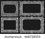 doodle frames set. tribal chalk ... | Shutterstock .eps vector #468728555