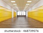 school corridor with rows of... | Shutterstock . vector #468739076