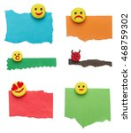 Set Of Colorful Torn Paper Wit...