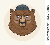 bear head with cap | Shutterstock .eps vector #468763802
