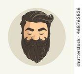 head hipster mustache and beard | Shutterstock .eps vector #468763826