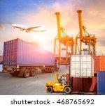 industrial container cargo... | Shutterstock . vector #468765692