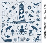 big vector set with marine... | Shutterstock .eps vector #468769478