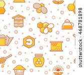 seamless honey pattern with... | Shutterstock . vector #468781898