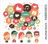 social media icons in speech... | Shutterstock .eps vector #468803852