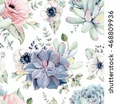 watercolor succulents seamless... | Shutterstock . vector #468809936