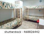 Stock photo hostel interior bedroom double bed interior 468826442