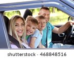 beautiful family in car | Shutterstock . vector #468848516