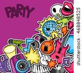 music party kawaii seamless...   Shutterstock .eps vector #468848525
