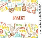 bakery banner on pattern with... | Shutterstock .eps vector #468853736