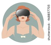 woman wearing virtual glasses.... | Shutterstock .eps vector #468857705
