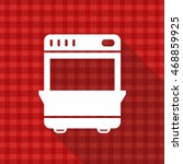 stove vector icon on red...