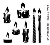 silhouette burning candles. set ... | Shutterstock .eps vector #468867995