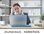exhausted businesswoman working ... | Shutterstock . vector #468869606