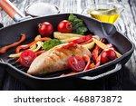 tasty grilled chicken fillet... | Shutterstock . vector #468873872