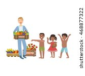 volunteer bringing the food to... | Shutterstock .eps vector #468877322