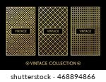 golden vintage pattern on black ... | Shutterstock .eps vector #468894866