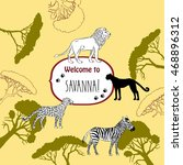 background with savanna animals.... | Shutterstock . vector #468896312