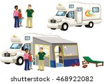 camper van and tents. | Shutterstock .eps vector #468922082