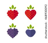heart shaped berries icon set.... | Shutterstock .eps vector #468930092