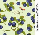 vector blueberry tea seamless... | Shutterstock .eps vector #468943556
