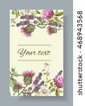 vector wild flowers and herbs... | Shutterstock .eps vector #468943568