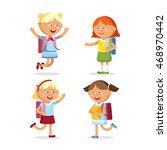 pupils with school backpacks.... | Shutterstock .eps vector #468970442