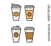 different cups of coffe vector... | Shutterstock .eps vector #468976565