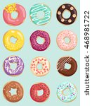 donuts set. vector illustration. | Shutterstock .eps vector #468981722